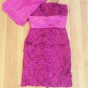 Badgley Mischka Rouched Strapless Cocktail Dress